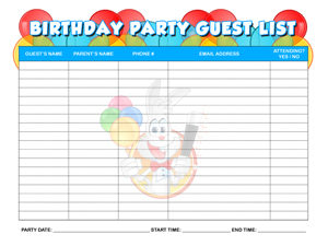 BIRTHDAY+PARTY+GUEST+LIST